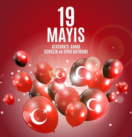 19th may commemoration of Ataturk, youth and sports day (Turkish Speak: 19 mayis Ataturku anma, genclik ve spor bayrami).  Turkish holiday greeting card. Vector Illustration Vettoriali