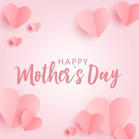 Happy Mothers day greeting card with Paper Origami Hearts background. Vector Illustration