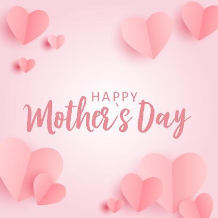Tarjeta de felicitación del día de las madres felices con fondo de corazones de papel Origami. Ilustración vectorial
