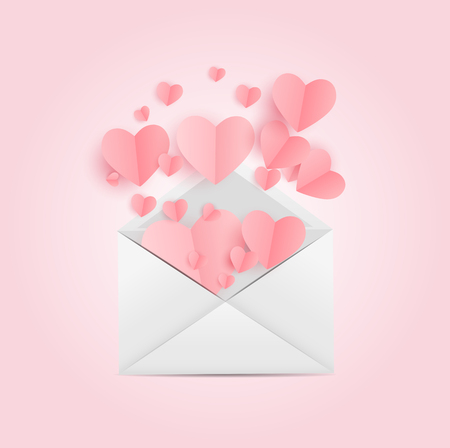 Envelope with Heart Symbol. Love and Feelings Background Design. Vector illustration