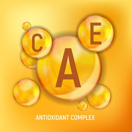Icona di vitamina A, C, E. Complesso antiossidante.