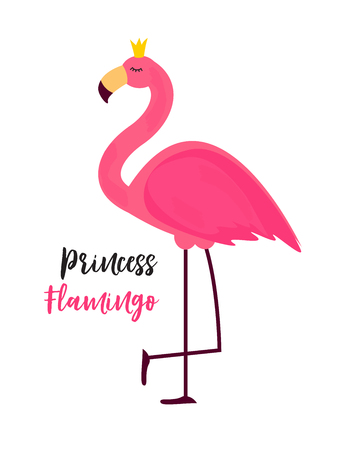 Cute Little Princess Abstract  Background with Pink Flamingo Vector Illustration Illustration