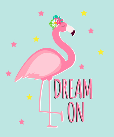 Cute Pink Flamingo Summer Background Vector Illustration Illustration