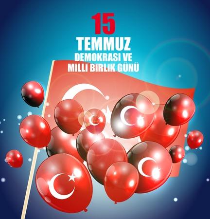 15 de julio, felices fiestas por la democracia en la República de Turquía (idioma turco: 15 temmuz demokrasi ve milli birlik gunu). Ilustración vectorial