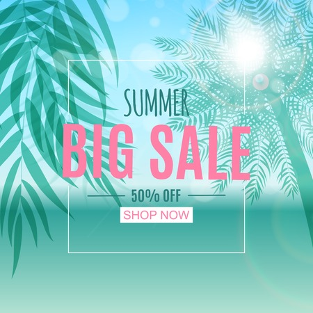 Abstract Summer Sale Background with Palm Leaves. Vector Illustration Illustration