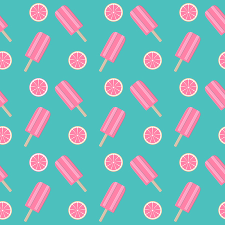 Abstract Summer Seamless Pattern Background with Ice Cream. Vector Illustration
