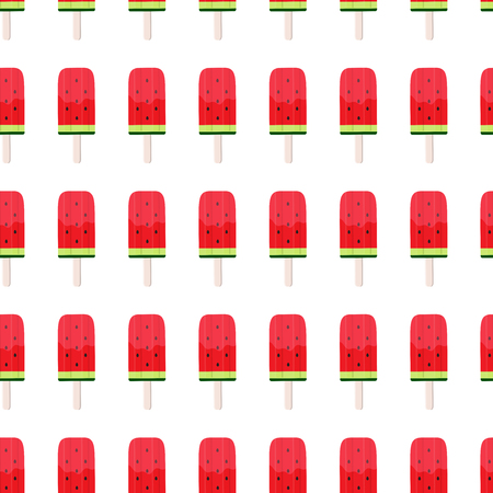 Watermelon Ice Cream Seamless Pattern Background Vector Illustration