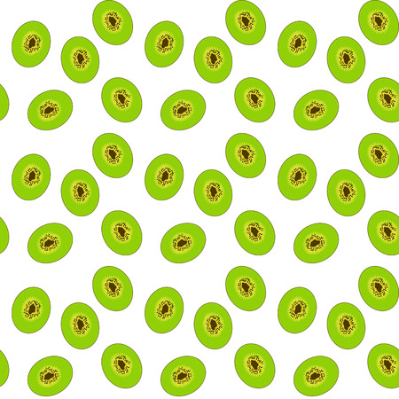 Cut of the Sweet, ripe, tasty and fragrant Kiwi. Seamless pattern. Vector Illustration Stock Photo