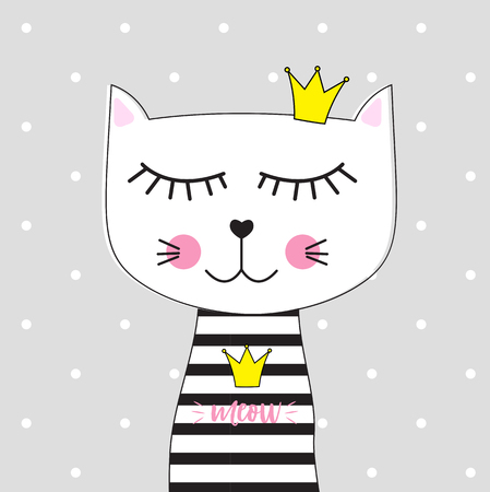 Little Cute Cat Princess Vector Illustration EPS10