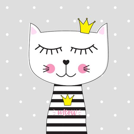 Pequeño gato lindo princesa ilustración vectorial EPS10