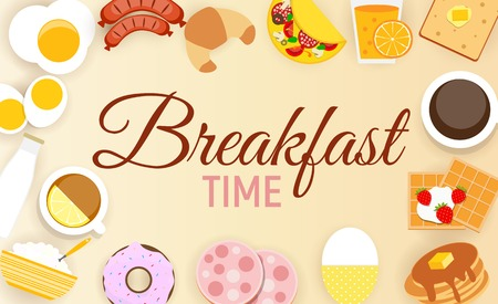 Breakfast Icon Set Background in Modern Flat Style Vector Illustration