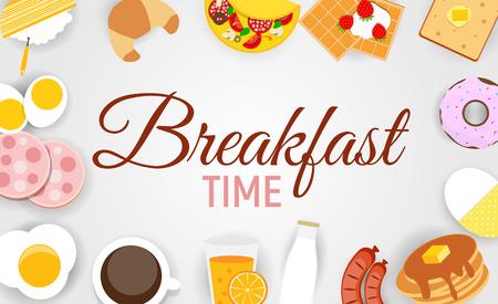 Breakfast Icon Set Background in Modern Flat Style Vector Illustration