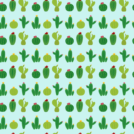 Cactus Icon Collection Seamless Pattern Background Vector Illustration EPS10
