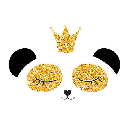 Little cute panda princess with crown and flowers