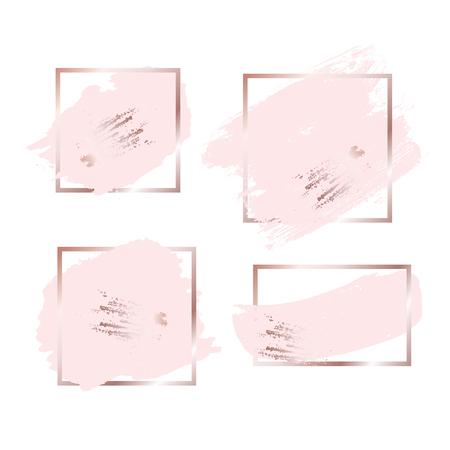 Trazos de pincel en tonos rosa oro rosa y fondo de marco dorado. Ilustración vectorial