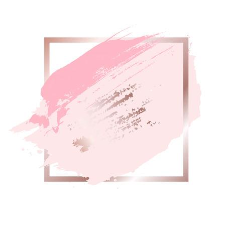 Brush strokes in rose gold pink tones and golden frame background. Vector Illustration Иллюстрация