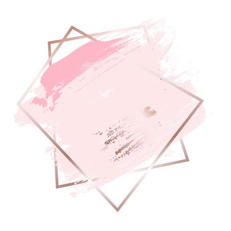 Brush strokes in rose gold pink tones and golden frame background. Vector Illustration Vetores