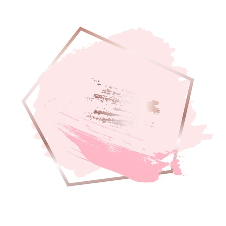 Brush strokes in rose gold pink tones and golden frame background. Vector Illustration  イラスト・ベクター素材