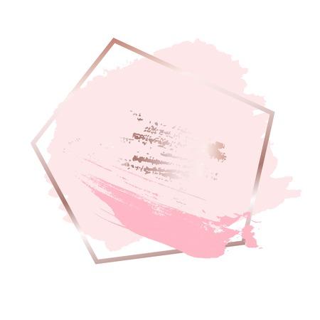 Coups de pinceau dans les tons rose or rose et fond de cadre doré. Illustration vectorielle