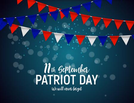 Fond d'affiche Patriot Day USA 11 septembre, nous n'oublierons jamais. Illustration vectorielle. Vecteurs