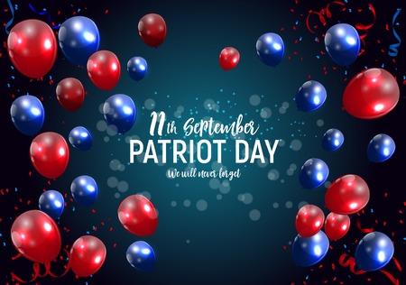 Fondo de cartel de Patriot Day USA 11 de septiembre, nunca lo olvidaremos. Ilustración de vector.