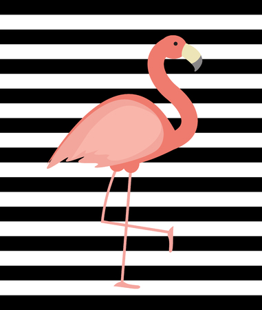 Cute Pink Flamingo Background Vector Illustration EPS10