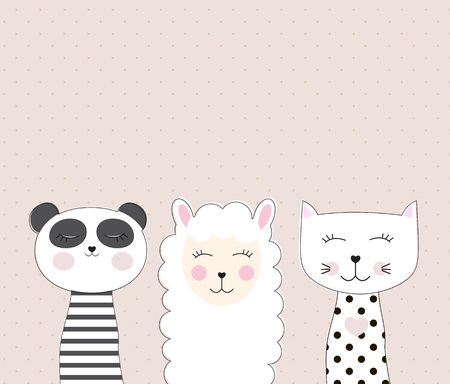 Little cute llama, panda and cat for card and shirt design. Best Friend Concept. Vector Illustration EPS10