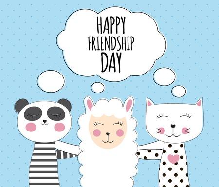 Little cute llama, panda and cat. Best Friend Concept. Happy friendship day. Vector Illustration Ilustrace