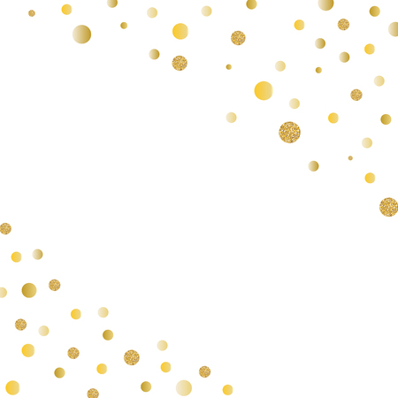 Abstract gold glitter background with polka dot confetti.  Vector illustration