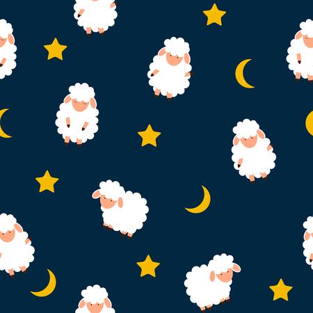 Netter kleiner Schaf nahtloser Musterhintergrund. Vektorillustration. EPS10 Vektorgrafik