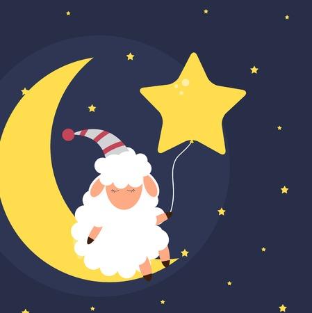 Linda ovejita en el cielo nocturno. Dulces sueños. ilustración vectorial. EPS10 Ilustración de vector