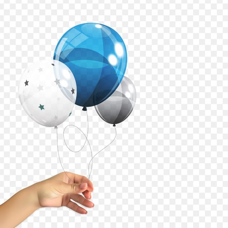 Realistic 3D Naturalistic hand of a man holding a Group of Color Glossy Helium Balloons Isolated on Transperent Background. Set of Silver, Blue, White with Confetti Balloons for Birthday, Anniversary, Celebration Party Decorations. Vector Illustration. EPS10
