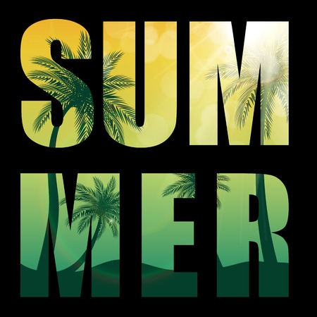 Summer Word from Beautifil Palm Tree Leaf  Silhouette Background Vector Illustration