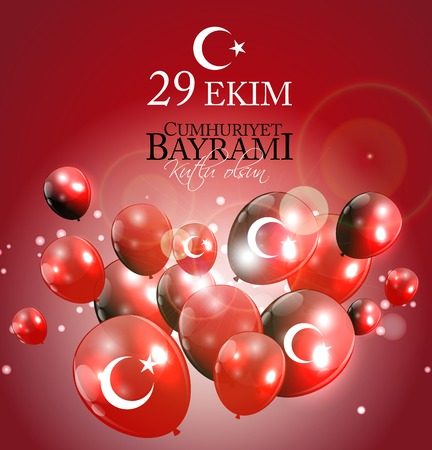 29 Ekim Cumhuriyet Bayrami kutlu olsun. Translation: 29 october Republic Day Turkey and the National Day in Turkey, Happy holiday. Vector Illustration EPS10