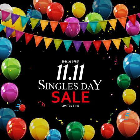 November 11 Singles Day Sale. Vector Illustration Illustration