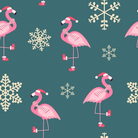 Cute Pink Flamingo New Year and Christmas Seamless Pattern Background Vector Illustration EPS10 Çizim