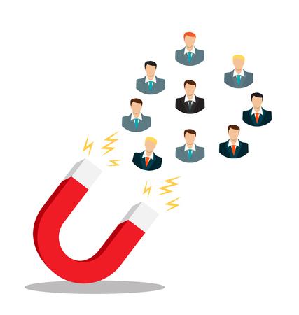Concept d'entreprise de l'aimant de prise de main attirer des prospects.Illustration vectorielle