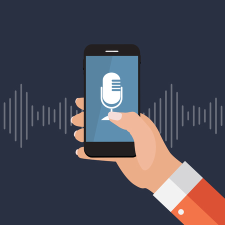 Hand with mobile phone with microphone button and intelligent technologies in flat style. Personal assistant and voice recognition concept. Vector Illustration
