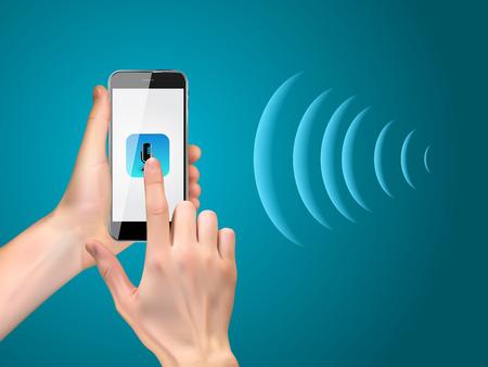 Mano con telefono cellulare con pulsante microfono e tecnologie intelligenti in stile piatto. Assistente personale e concetto di riconoscimento vocale. illustrazione vettoriale Vettoriali