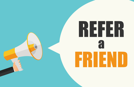 Refer a Friend Poster with Megaphone and Hand. Vector Illustration Çizim