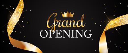 Grand Opening Card met gouden lint achtergrond. vectorillustratie Vector Illustratie