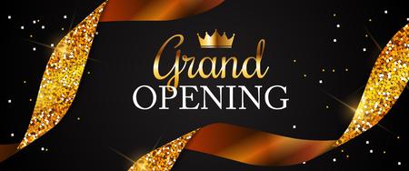 Tarjeta de gran inauguración con fondo de cinta dorada. Ilustración vectorial
