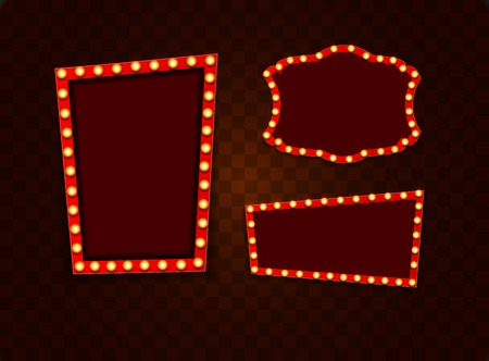 Vintage 3d light retro frames. Vector Illustration