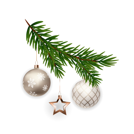 Christmas decorations. Fir tree branch with ball. Vector Illustration EPS10  イラスト・ベクター素材