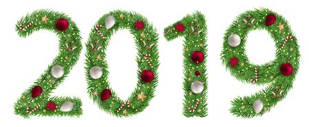 Christmas alphabet number 2019 vector illustration
