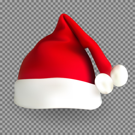 Naturalistic 3D version of Santa Claus hat on a transparent background. Vector Illustration. EPS10