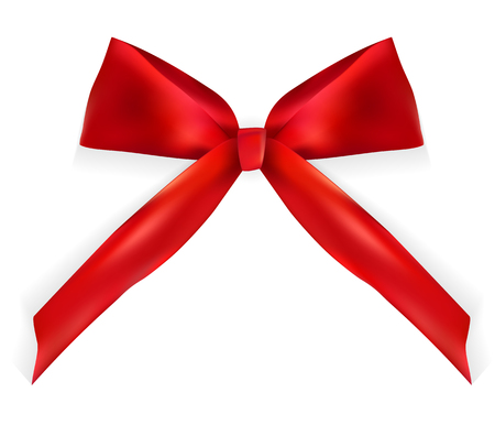 Design Product Red Ribbon and Bow. 3D Realistic Vector Illustration. EPS10 Illustration