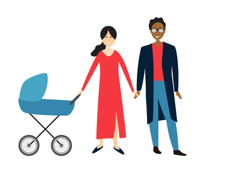 Couple with baby in a stroller. Vector Illustration EPS10