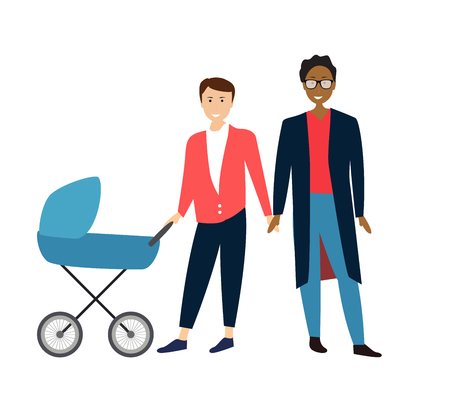Two Gay Cartoon men couple with baby in a stroller. Vector Illustration