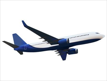 Modelo 3D realista de un avión aislado sobre fondo blanco. Ilustración de vector. EPS10
